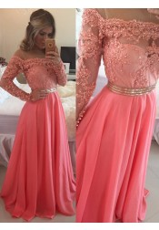 Elegant Jewel Illusion Neck Long Sleeves Long Watermelon Prom Dress with Beading Lace