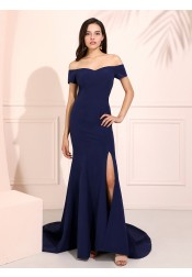 Mermaid Off-the-shoulder Long Navy Blue Prom Dress with Split