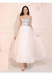Spaghetti Straps Ankle-Length White Prom Dress with Sequins