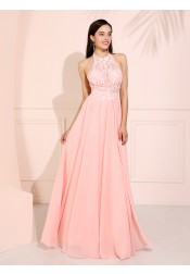 Halter Backless Long Prom Dress Pink Bridesmaid Dress with Lace
