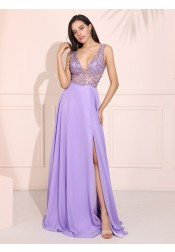 Plunge Long Chiffon Prom Dress Deep V-Neck Evening Dress with Beading