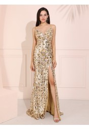 Sparkle Sequined Long Prom Dress Champagne Evening Dress with Split