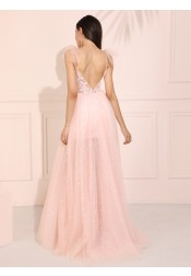 Pink Long  Prom Dress Glitter Spashetti Straps Evening Dress with Lace