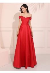 Off-the-Shoulder Red Long Prom Dress Elegant Satin Party Dress