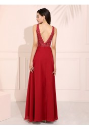 Dark Red Round Neck Long Prom Dress Chiffon Backless Evening Dress