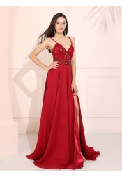 Spaghetti Straps Long Prom Dress Dark Red Evening Dress with Beading