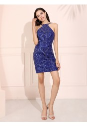 Sheath Short Homecoming Dress Backless Royal Blue Cocktail Dress