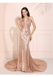 Halter Glitter Long Prom Dress Backless Champagne Evening Dress