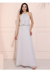 Simple Round Neck Long Prom Dress Open Back Chiffon Bridesmaid Dress