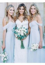 A-Line Off-the-Shoulder Floor-Length Light Blue Chiffon Bridesmaid Dress