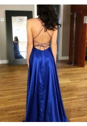 A-Line Spaghetti Straps Royal Blue Satin Long Homecoming Prom Dress with Split