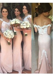 Mermaid Off-the-Shoulder Sweep Train Pink Appliques Bridesmaid Dress
