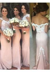 Mermaid Off-the-Shoulder Sweep Train Pink Appliques Bridesmaid Dress