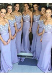 Fashion Mermaid Sweetheart  Floor-Length Lavender Bridesmaid  Dress with Appliques