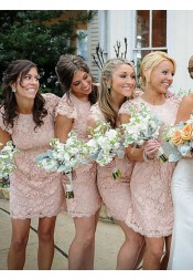 Sheath Crew Short Cap Sleeves Pink Lace Bridesmaid Dress