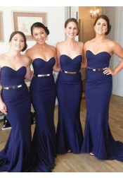Long Dark Blue Prom Dress - Mermaid Strapless with Gold Belt