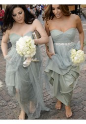 Strapless Long Tulle Bridesmaid Dress with Beads Sash