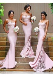 Gorgeous Spaghetti Mermaid Pink Long Bridesmaid Dress with Train