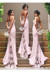 Gorgeous Spaghetti Mermaid Pink Long Bridesmaid Dress with Train