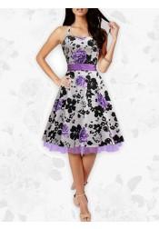 Black & Purple Foral Butterfly 'Rhya' Vintage Serenity 50's Rockabilly Dress