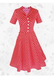 Red Vintage 50s 60s Polka Dot Short Sleeves Midi Rockabilly Party Swing Dress