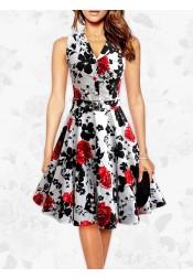Vintgae 1950s V-neck Sleeves A-line Print Dress With Sash