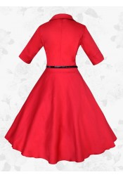 Red Vintage Lapel Short Sleeves 50s 60s Party Swing Long Women Dress With Belt