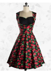 Vintage Sweetheart Neckline Black Strawberry Print Midi Dress For Women