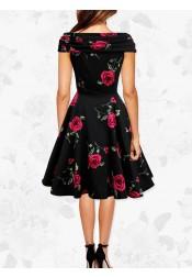 1950s Vintage V-neck Short Sleeves Print Dress