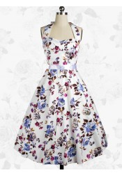 Charming Vintage 50s Halter Floral Printed Swing Party Dress With Bowknot