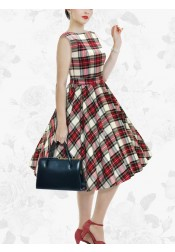 Women's Short Vintage 50s Red Plaid Prom Swing Party Dress With Sash