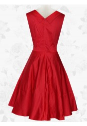 Women 50s Retro Square Neck Knee Length Red Swing Party Prom Dress
