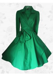 Vintage Green Small Lapel Falbala Plain Long Sleeves 50s 60s Dress Plus Size