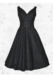 Black Vintage Style V-neck White Polka Dots 50s 60s Party Cocktail Dress