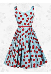 Blue Vintage 50s Cherry Boat Neck Sleeveless Rockabilly Swing Midi Dress