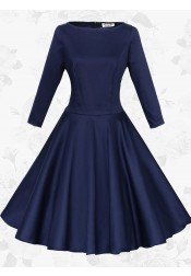 Women Vintage 50s Long Sleeve Round Neck Navy Blue Rockabilly Swing Party Dress