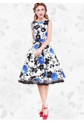 1950s Vintage Scoop A-line Print Dress(Get it within 3 Days)