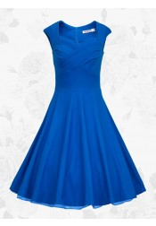 Royal Blue Square Neck Vintage Style Knee Length 50s 60s Prom Swing Dress