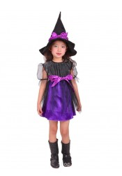 Halloween Kid Witch Costume with Cap and Besom