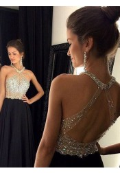 A-Line Halter Open Back Beaded Black Long Chiffon Prom Dress/Evening Dress