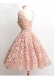 Vintage 50s Style Knee-Length Sleeveless Lace Blush Prom Dress