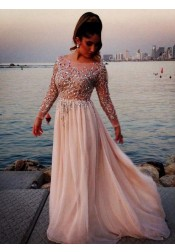 Elegant Prom Dress -Column Bateau Neck Long Sleeves with Sparkly Beaded