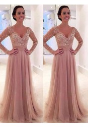 A-Line Deep V-Neck Sweep Train Long Sleeves Blush Tulle Prom Dress with Appliques