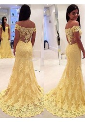 Mermaid Off-the-Shouler Sweep Train Side-Zipper Yellow Tulle Prom Dress with Lace