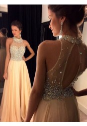 A-Line Prom Dress/Evening Dress - Champagne High Neck Crystals Beaded