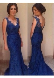 Mermaid Prom Dress/Evening Dress - Royal Blue V-Neck Lace