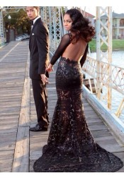 Sexy Backless Mermaid Black Lace Long Sleeves Prom dress with Court Train