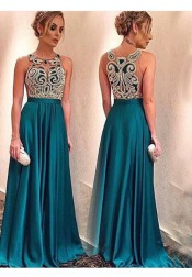 Special Illusion Appliques Prom Dress-Long Satin Evening Dress