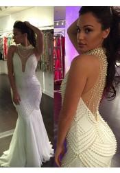 Mermaid Illusion Back Beaded Long Prom dress-High Neck Sleeveless Evening Dress