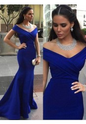 Mermiad Prom Dress - Sweep Train V-neck Off-shoulder Blue Evening Dress
